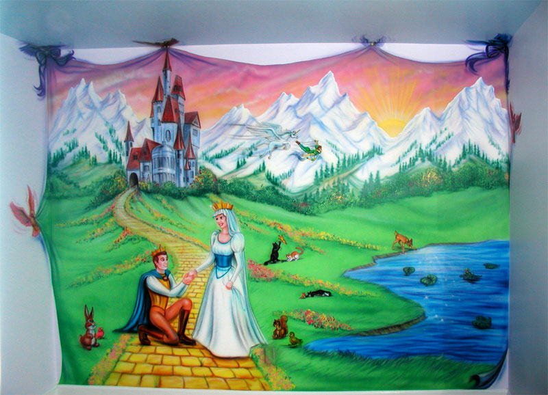 C harris designs inc fairytale mural for Fairy tale mural